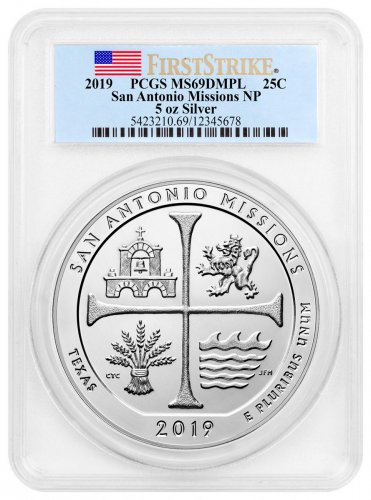 2019 San Antonio Missions Historical Park 5 oz. Silver ATB America the Beautiful Coin PCGS MS69 DMPL FS