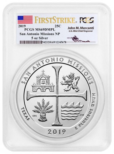 2019 San Antonio Missions Historical Park 5 oz. Silver ATB America the Beautiful Coin PCGS MS69 DMPL FS Exclusive Mercanti Signed Label