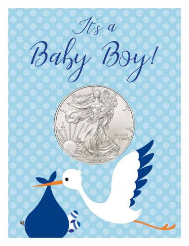 2020 1 oz. American Silver Eagle $1 Coin Baby Boy Coin Card BU