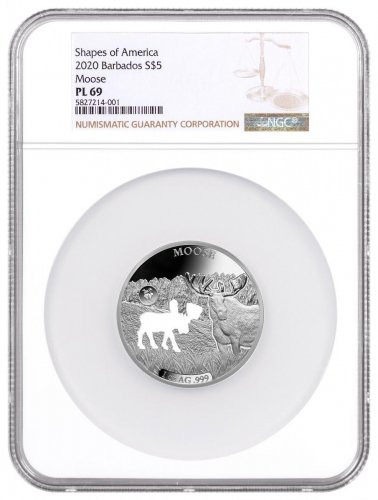 2020 Barbados Shapes of America - Cut-Out High Relief 1 oz Proof-Like Silver $5 Coin Moose NGC PL69
