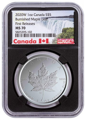 2020-W Canada 1 oz Silver Maple Leaf Burnished $5 Coin NGC MS70 FR With Mint COA Black Core Holder Exclusive Canada Label