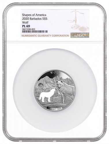 2020 Barbados Shapes of America - Cut-Out High Relief 1 oz Proof-Like Silver $5 Coin Wolf NGC PL69