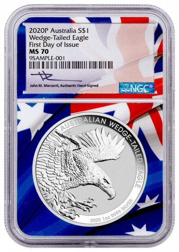 2020-P Australia 1 oz Silver Wedge-Tailed Eagle $1 Coin Scarce and Unique Coin Division NGC MS70 FDI Australian Flag Core Mercanti Signed Flag Label