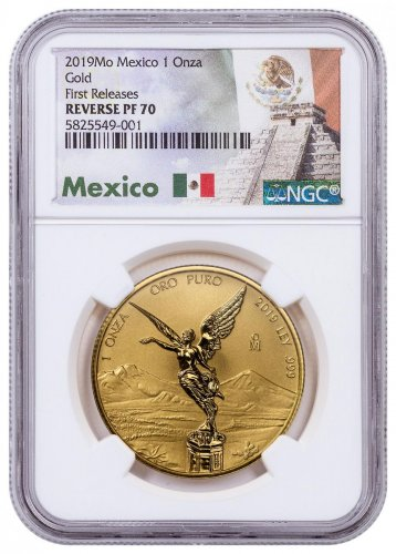 2019-Mo Mexico 1 oz Gold Libertad Reverse Proof 1 Onza Coin NGC PF70 FR Exclusive Mexico Label