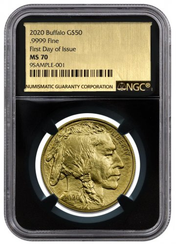 2020 1 oz Gold Buffalo $50 Coin NGC MS70 FDI Black Core Holder Exclusive Gold Foil Label