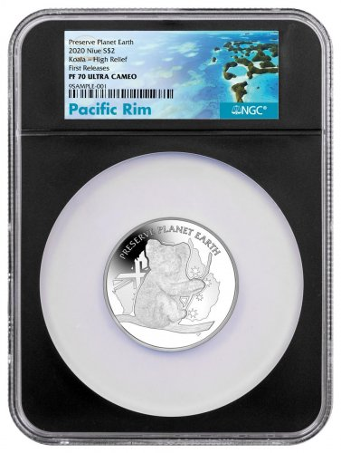 2020 Niue Koala Preserve Planet Earth High Relief 2 oz Silver Proof $2 Coin NGC PF70 UC FR Pacific Rim Label