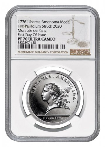 1776 France Libertas Americana 1 oz Palladium Proof Medal Scarce and Unique Coin Division NGC PF70 UC FDI