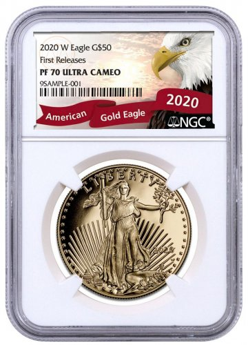 2020-W 1 oz Gold American Eagle Proof $50 Coin NGC PF70 UC FR Exclusive Eagle Label