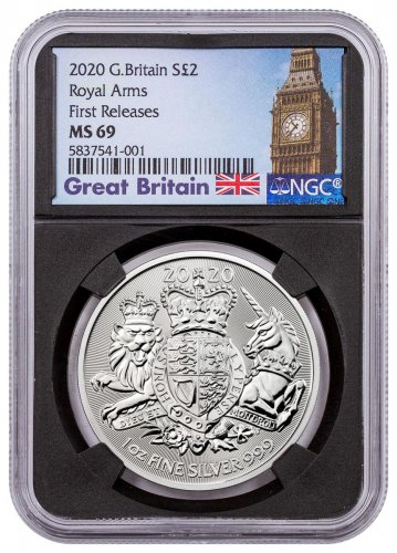 2020 Great Britain 1 oz Silver Royal Coat of Arms £2 Coin NGC MS69 FR Black Core Holder Big Ben Label