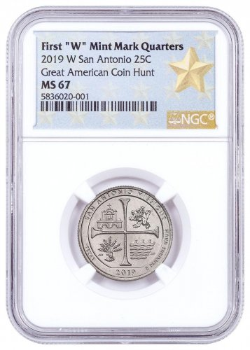 2019-W 25C Clad America the Beautiful San Antonio Missions Historical Park Quarter NGC MS67 West Point Star Label