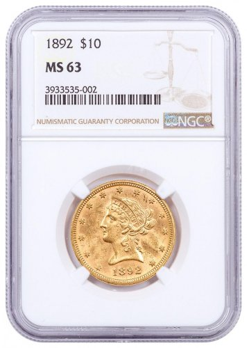 1892 $10 Gold Liberty Head NGC MS63