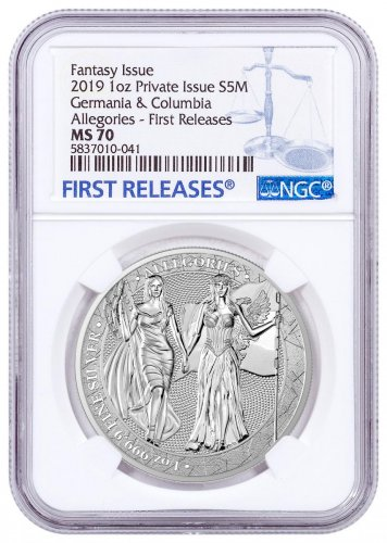 2019 Allegories Germania & Columbia 1 oz Silver Medal NGC MS70 FR
