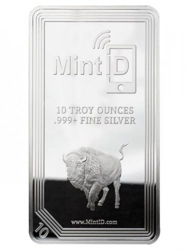 MintID 10 oz .999 Fine Silver Buffalo with AES-128 Bit Encrypted NFC Microchip Authentication Bar