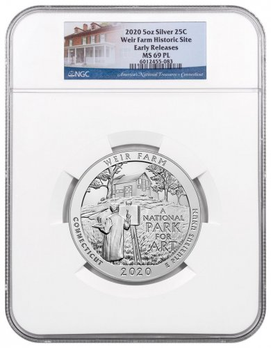 2020 Weir Farm National Historic Site 5 oz. Silver ATB America the Beautiful 25C Coin NGC MS69 PL ER America the Beautiful Label
