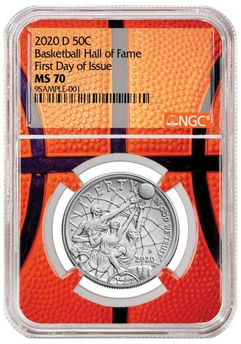 2020-D Basketball Hall of Fame Commemorative Clad Half Dollar Coin NGC MS70 FDI Basketball Core