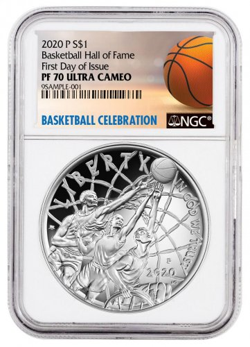 2020-P $1 Basketball Hall of Fame Silver Dollar Proof Coin NGC PF70 FDI