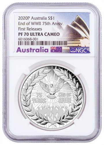 2020-P Australia 75th Anniversary of the End of WWII 1 oz Silver Proof $1 Coin NGC PF70 UC FR Opera House Label