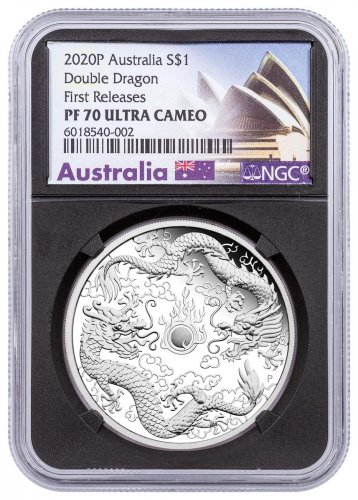 2020 Australia 1 oz Silver Double Dragon Proof $1 Coin NGC PF70 UC FR Black Core Holder Opera House Label