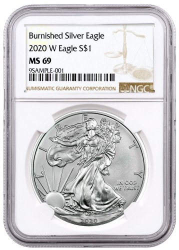 2020-W 1 oz Burnished American Silver Eagle $1 Coin NGC MS69 Brown Label
