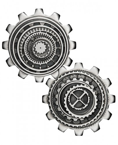 2020 Tuvalu $1 1 oz Silver Industry In Motion - 2-Coin Set Gear-shaped Antiqued Coin GEM BU OGP