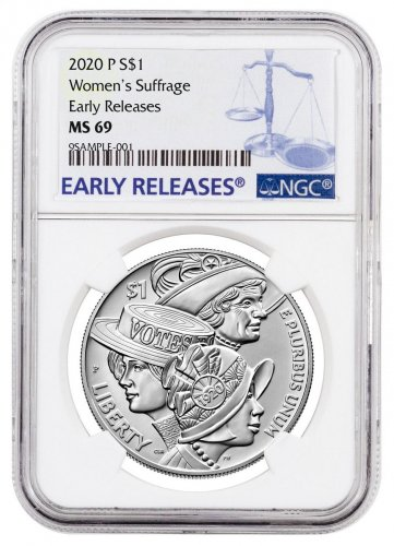 2020-P Women's Suffrage 100th Anniversary Commemorative Silver Dollar BU Coin NGC MS69 ER