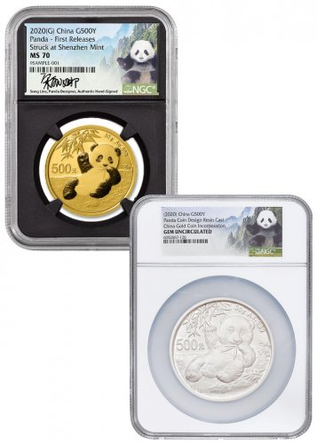 2-Piece Set - 2020 China 30 gm Gold Panda NGC MS70 FR Black Core Holder with Govt. Resin Cast Panda Scarce and Unique Coin Division Song Lina Signed Label
