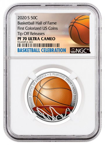 2020-S Basketball Hall of Fame Commemorative Clad $50 Colorized Proof Coin NGC PF70 UC Tip Off Releases Basketball Celebration Label