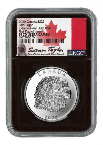 2020 Canada Silver Canadian Eagle Extraordinary High Relief $25 Coin Scarce and Unique Coin Division NGC PF70 UC FDI Black Core Holder Exclusive Taylor Signed Label