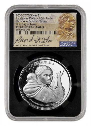 (2020) Shoshone Bannock Tribes - Sacajawea Dollar - Alternate Design 1 oz Silver Proof $1 Coin Scarce and Unique Coin Division NGC PF70 UC FDI Randy'L Teton Signed Label