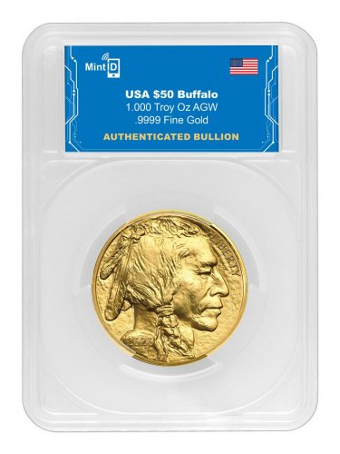 2020 1 oz Gold Buffalo with MintID Encrypted NFC Microchip $50 Coin GEM BU MintID Holder