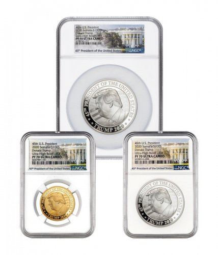 2020 Donald Trump - 3-Coin Set Ultra High Relief Gold + Silver Proof Coin Scarce and Unique Coin Division NGC PF70 FDI White House Label