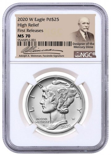 2020-W 1 oz High Relief Palladium Eagle Burnished $25 Coin NGC MS70 FR Weinman Label