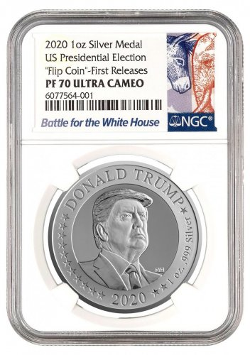 "2020 U.S. Presidential Election ""Flip Coin"" 1 oz Silver Proof NGC PF70 UC FR with Pouch and COA Exclusive Election Label"