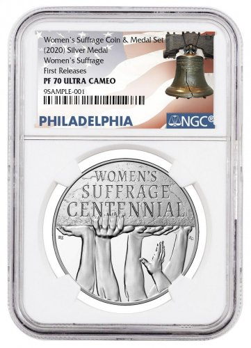 (2020) Women's Suffrage Medal 100th Anniversary Silver Proof Medal NGC PF70 UC FR Liberty Bell Label