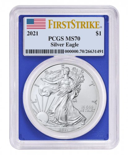 2021 American Silver Eagle PCGS MS70 FS Blue Frame Flag Label