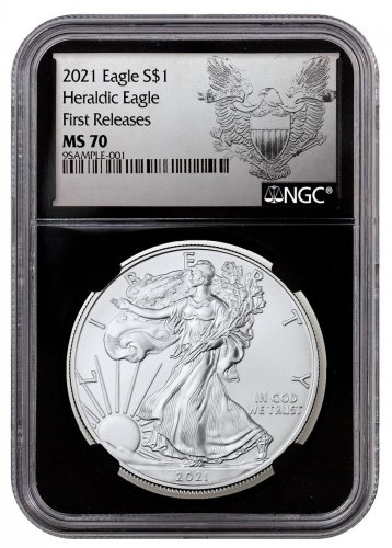 2021 American Silver Eagle NGC MS70 FR Black Core Holder Exclusive Heraldic Eagle Label