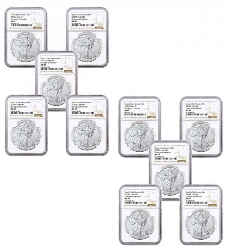 10-Pack - 2020-(S) 1 oz American Silver Eagle Struck at San Francisco Mint Emergency Production NGC MS69 Brown Label