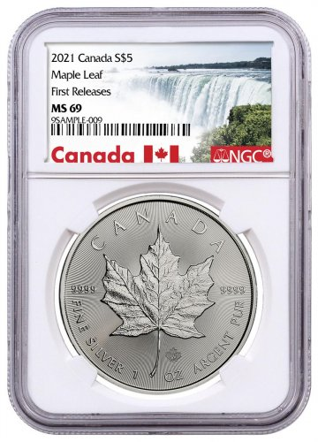 2021 Canada 1 oz Silver Maple Leaf $5 Coin NGC MS69 FR Exclusive Canada Label
