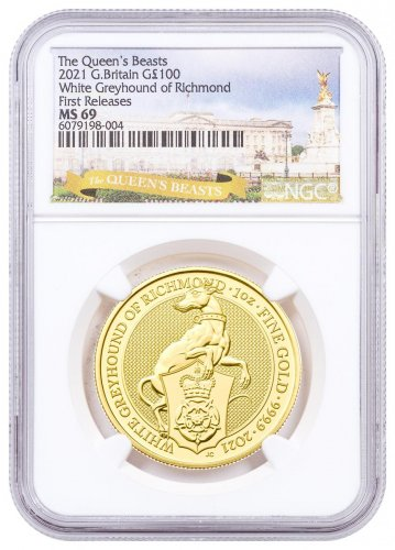 2021 Great Britain 1 oz Gold Queen's Beasts - The White Greyhound of Richmond £100 Coin NGC MS69 FR Exclusive Queen's Beasts Label
