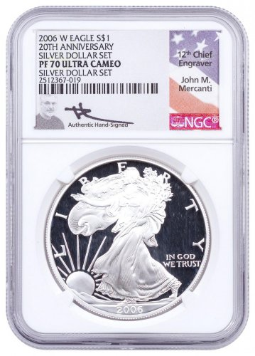 2006-W 20th Anniversary Proof Silver Eagle NGC PF70 Mercanti Signed Flag Label
