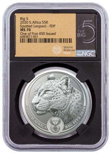 2020 South Africa Spotted Leopard 1 oz Silver R5 Big 5 NGC MS70 Black Core FDP One of First 450 Issued Big 5 Label