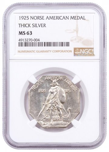 1925 United States Norse American Medal Thick Silver Medal NGC MS63 Brown Label