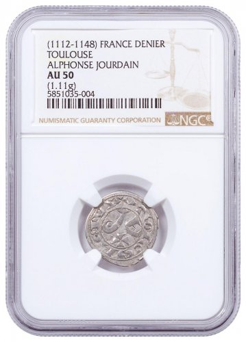 1112-1148 France Toulouse - Alphonse Jourdain Silver Denier NGC AU50 Brown Label