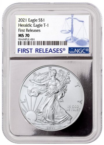 2021 American Silver Eagle T-1 NGC MS70 FR Silver Foil Core First Releases Label