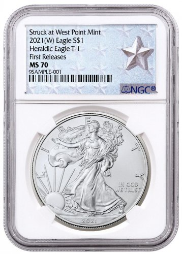 2021-(W) American Silver Eagle Struck at West Point Mint NGC MS70 FR West Point Silver Star Label