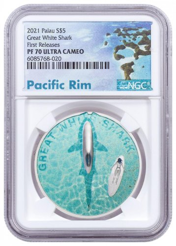 2021 Palau Great White Shark Ultra High Relief 1 oz Silver Colorized Proof $5 Coin NGC PF70 FR Exclusive Pacific Rim Label