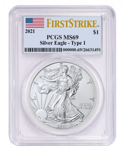 2021 American Silver Eagle T-1 PCGS MS69 FS Flag Label