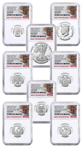 8-Coin Set - 2020-S U.S. Limited Edition Silver Proof Coins Set NGC GEM Proof ER Trolley Label