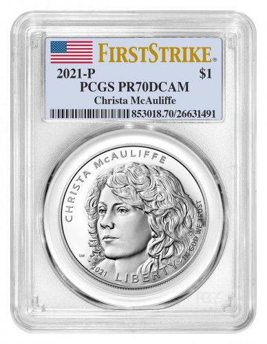 2021-P Christa McAuliffe Commemorative Silver Dollar Proof Coin PCGS PR70 DCAM FS Flag Label