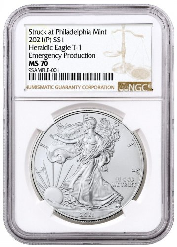 2021-(P) American Silver Eagle Struck at Philadelphia Mint - Emergency Production T-1 NGC MS70 Brown Label